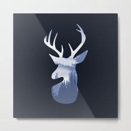 Deer Abstract Blue Landscape Design Metal Print