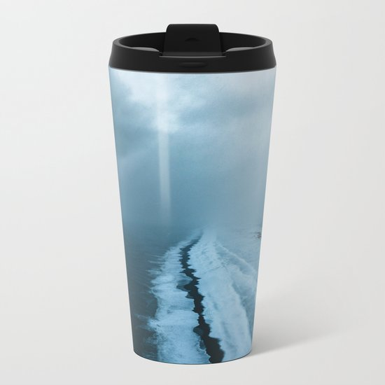 Moody Black Sand Beach in Iceland - Landscape Photography Metal Travel Mug