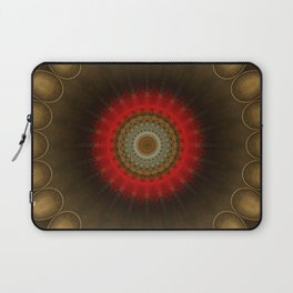 Mandala in brown, red and golden tones Laptop Sleeve