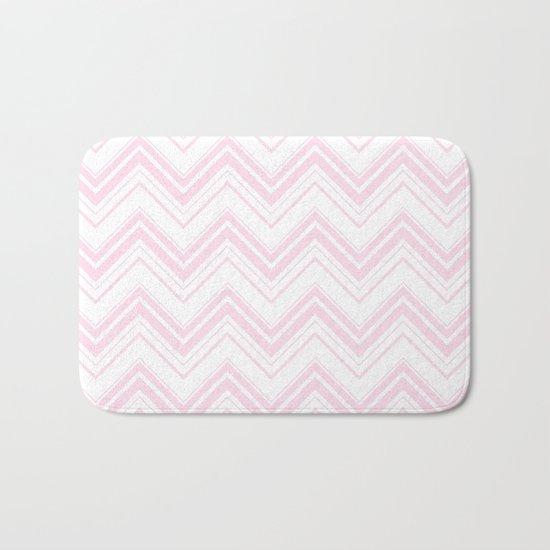 Chevron Zig Zag pattern pink on white on #Society6 Bath Mat