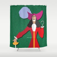 captain hook Shower Curtains featuring Captain Hook by AmadeuxArt