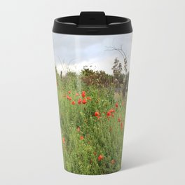 Poppies on a Hill Travel Mug