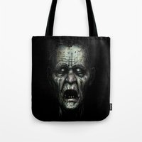 zombie Tote Bags featuring Zombie by Havard Glenne