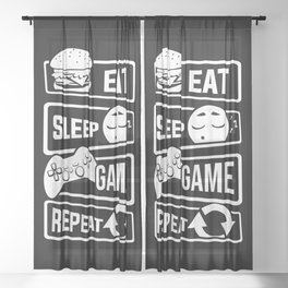 Eat Sleep Game Repeat | Video Game Console Gaming Sheer Curtain