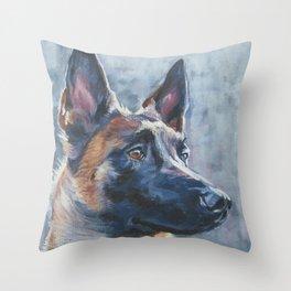 beautiful Belgian Malinois dog art portrait Beautiful Fine Art Dog Painting by L.A.Shepard Throw Pillow