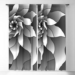 Black and grey pinwheel Blackout Curtain