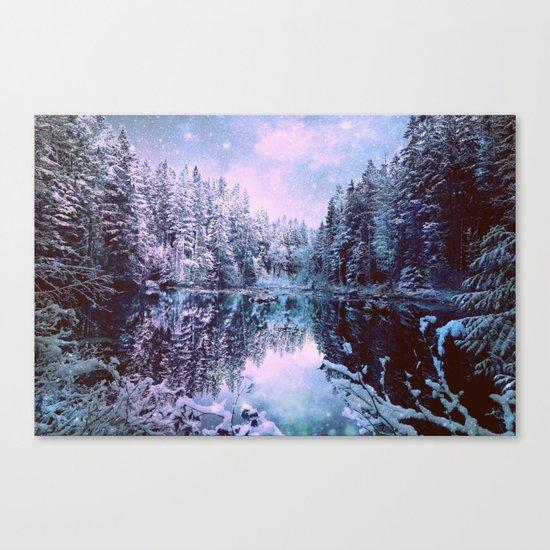 Lavender Blue Winter Wonderland Forest Canvas Print