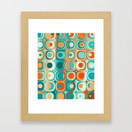 Orange and Turquoise Dots Framed Art Print