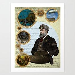 Jules Verne, a Steampunk vision Art Print