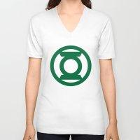 green lantern V-neck T-shirts featuring Green Lantern  by Evan Krushelnycky