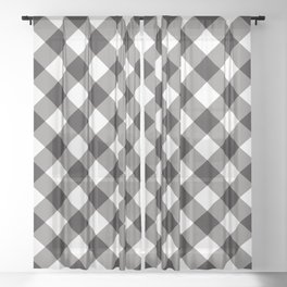 Gingham - Black Sheer Curtain