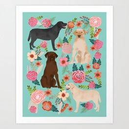 Labrador Retriever dog breed floral pattern for dog lover chocolate lab golden retriever labradors Art Print