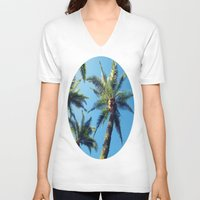 palm trees V-neck T-shirts featuring Palm Trees by Jillian Stanton