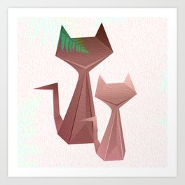 Minimal Iridescent Cats with Fern Art Print