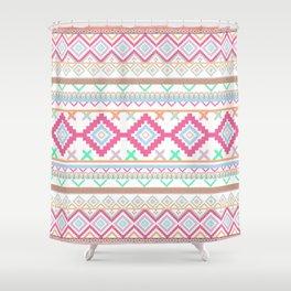 Pink teal Aztec Tribal Diamond geometric Pattern Shower Curtain