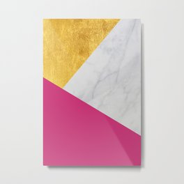 Carrara marble with gold and Pantone Pink Yarrow color Metal Print