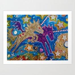 Twin Unicorns Art Print