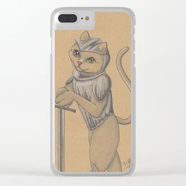 Inktober 2017 Cats - 'Sword' Clear iPhone Case