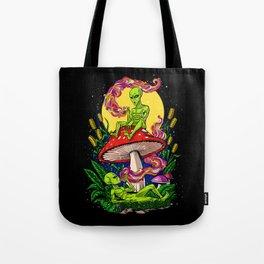 Aliens Magic Mushrooms Smoking Psychedelics Tote Bag
