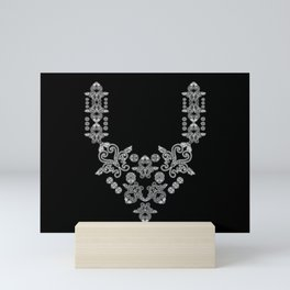 'Love 02'- Heart of lace on a chain in black and white Mini Art Print