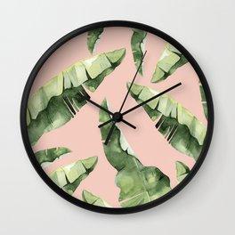 Banana Leaves 2 Green And Pink Wall Clock