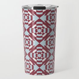 Simple geometric stripe flower red and blue Travel Mug