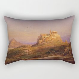 Rudolf Müller - View of the Acropolis from the Pnyx Rectangular Pillow