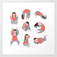 yoga Art Prints featuring Yoga by Anna Katharina Jansen |Illustration