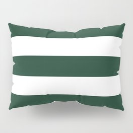 Phthalo green - solid color - white stripes pattern Pillow Sham
