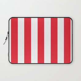 Sprint Red - solid color - white vertical lines pattern Laptop Sleeve