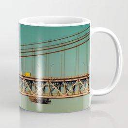 Bridge Lisbon and yellow car in contrast Coffee Mug