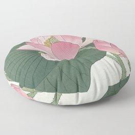 Flowering lotus flowers, Ohara Koson Floor Pillow