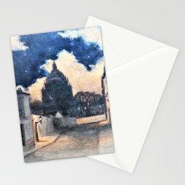 Eugene Grasset - Starry night in Montmartre - Digital Remastered Edition Stationery Cards