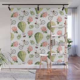 Bicycles Roses and Balloons Wall Mural