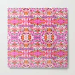 Almost Gingham Check Watercolor Abstract Pattern - Pink, Lilac & Orange Metal Print