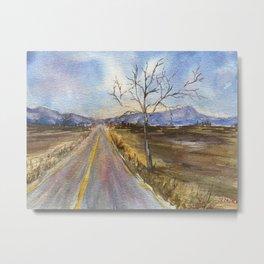 Road to Blue Original Watercolor Painting Metal Print