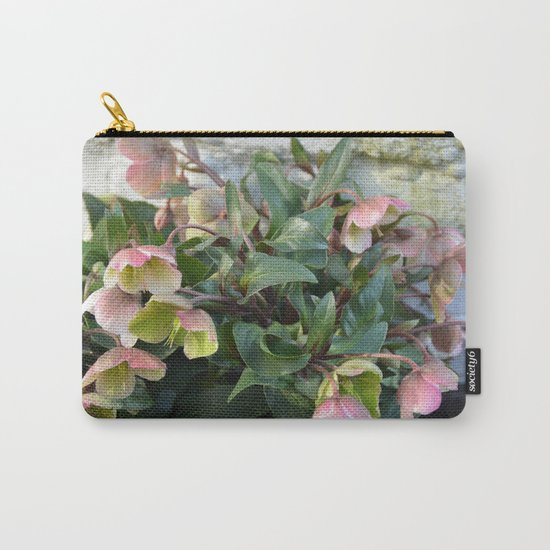 Pink flowers against an old brick wall Carry-All Pouch