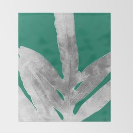 Christmas Fern, Holiday Green with Silver Winter Leaf Throw Blanket