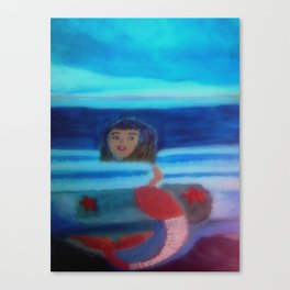 Mermaid Swimming In The Sea Canvas Print