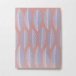 Gray and Pink Leaves Pattern Metal Print