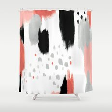 Coral Abstract Painting Shower Curtain