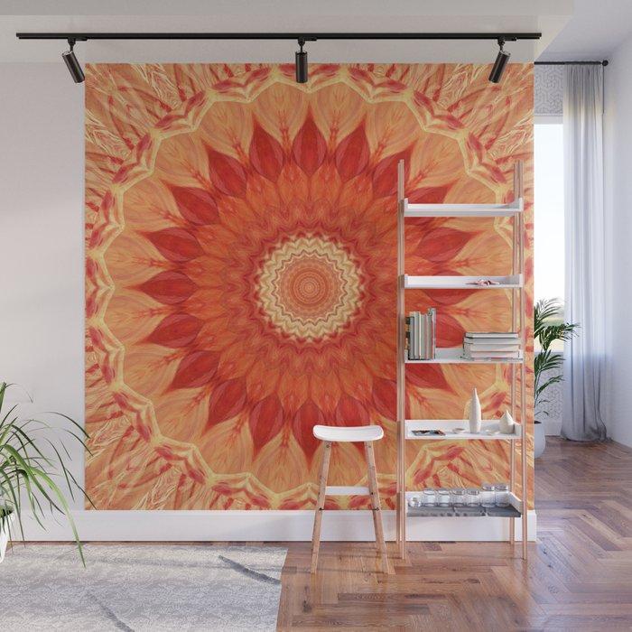 Mandala orange red Wall Mural
