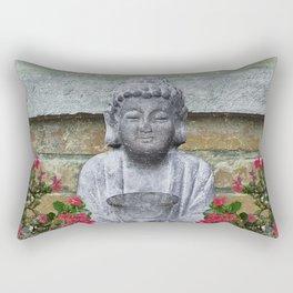 Little Buddha Sculpture Collage Rectangular Pillow
