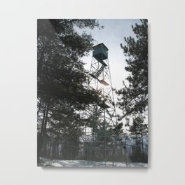 Fire Tower In Winter Metal Print