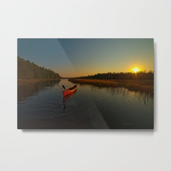Red Canoe at South River Metal Print