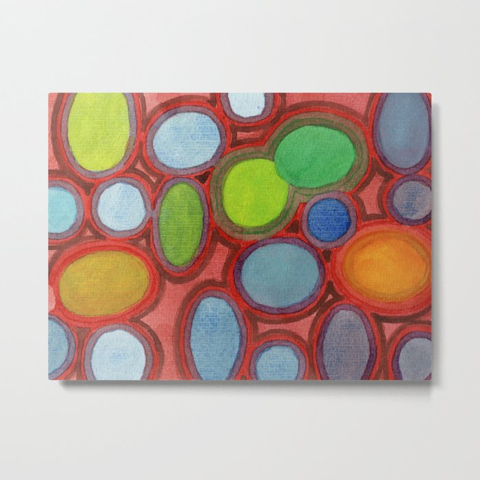 Abstract Moving Round Shapes Pattern Metal Print