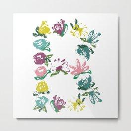 Floral B Monogram Metal Print