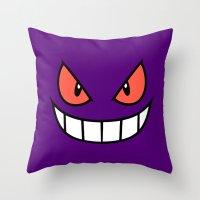 gengar Throw Pillows featuring Gengar by Mischievie
