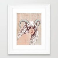 aries Framed Art Prints featuring Aries by Vivian Lau