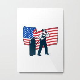 Welder Standing Visor Up USA Flag Wavy Retro Metal Print